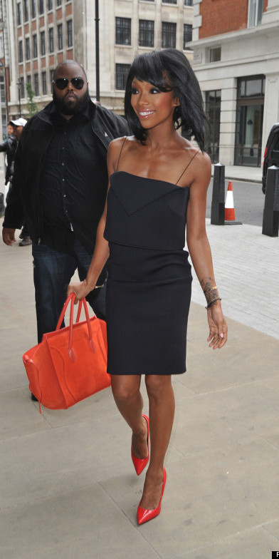 Brandy Norwood seen leaving the BBC Radio studios after an appearance on 1Xtra - Nick Bright Show in London